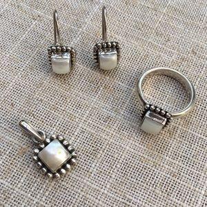 Silpada Pearl Button Frame Pendant, Earrings, Ring